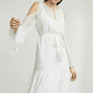 OFF WHITE EVEE COLD SHOULDER SILK CHIFFON LACE